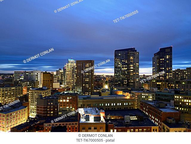Massachusetts, Boston, City skyline at dusk