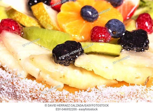 Close up of a cake with fresh fruits