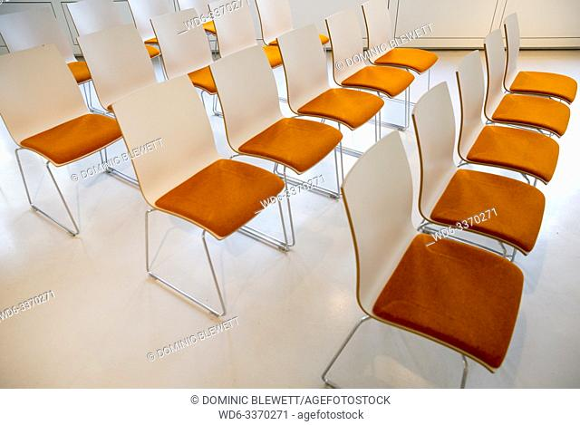 Rows of chairs set up for a conference in Berlin, Germany