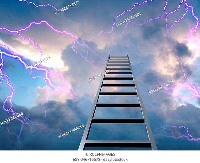 Lightning flasshes with ladder to the top