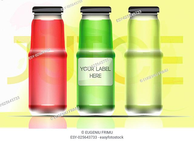Vector set of transparent glass or plastic green, lime and red liquid bottle with caps for juice mockup ready for your design