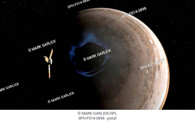 Juno and Jupiter's aurorae. Illustration of NASA's Juno spacecraft over Jupiter's pole, studying the planet's aurorae. Juno was launched in 2011 on a five-year...