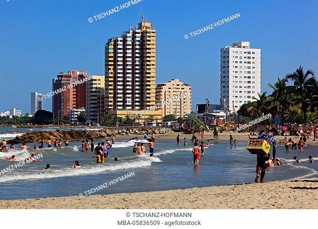 Republic Colombia, Departamento Bolivar, city of Cartagena de Indias, on the beach of Bocagrande, tourists