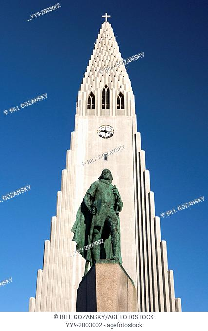 Statue of Leifur Eiriksson in front of Hallgrímskirkja Church - Reykjavik, Iceland