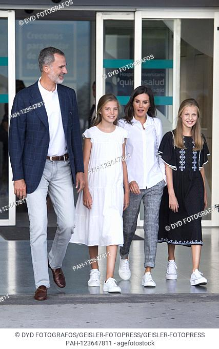King Felipe VI. from Spain, Princess Sofia of Spain, Queen Letizia of Spain and Princess Leonor of Spain visit Juan Carlos after his heart surgery at the...