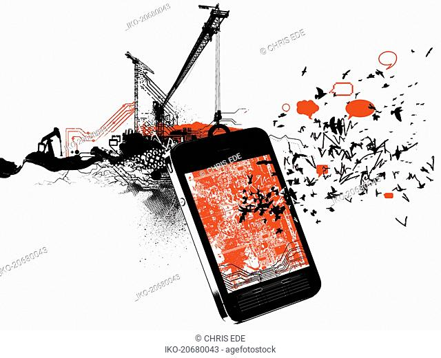 Development of smart phone hanging from construction crane with birds and social networking speech bubbles