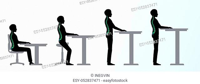 ergonomic. Height adjustable desk or table sitting and standing pose of a man. Saddle chair