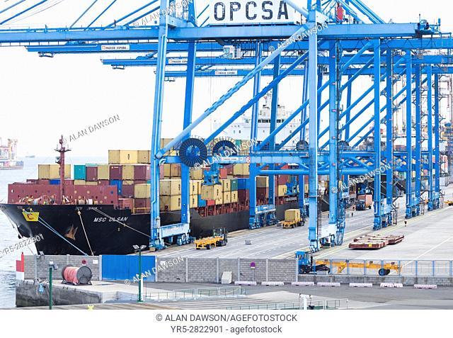 Shipping container terminal in Las Palmas port. Puerto de La Luz, Gran Canaria, Canary Islands. Spain