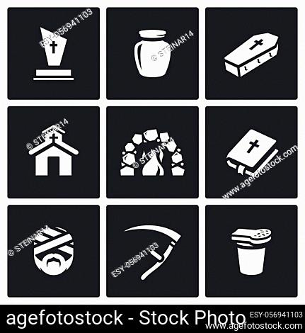 Cemetery, Urn ashes, Grave, Building, Oven, Bible, Mummy, Death Scythe, Bread and glass