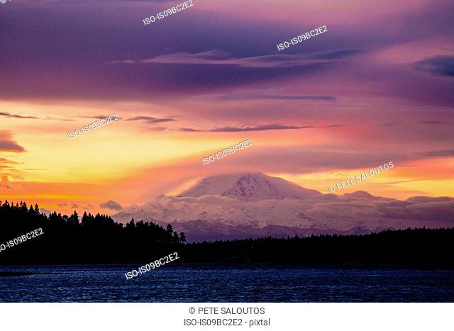 Puget Sound at sunset, Bainbridge, Washington, USA
