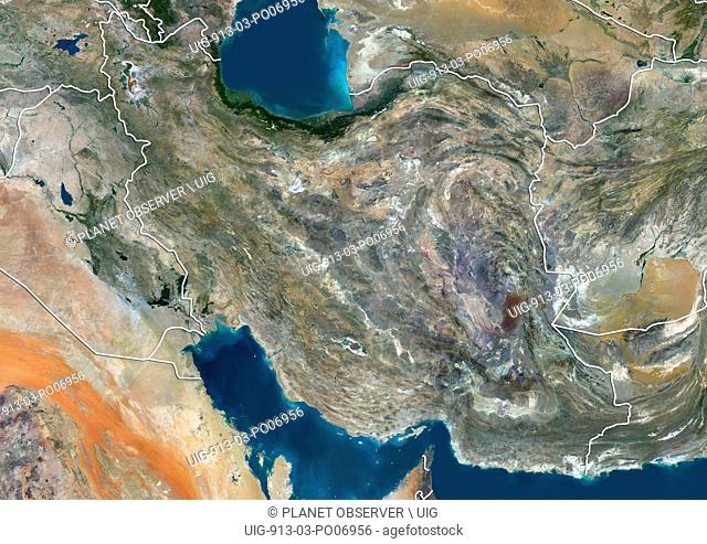 Satellite view of Iran (with country boundaries). This image was compiled from data acquired by Landsat 8 satellite in 2014