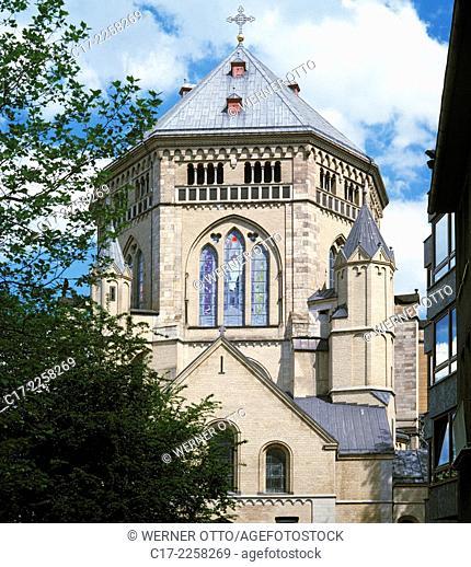 Germany, Cologne, Rhine, Rhineland, North Rhine-Westphalia, NRW, Saint Gereon church, basilica, Romanesque style, decagon