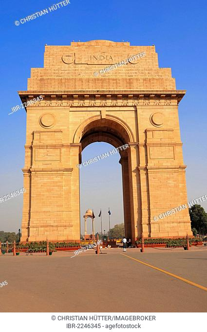 India Gate War Memorial or All India War Memorial, New Delhi, India, Asia, PublicGround