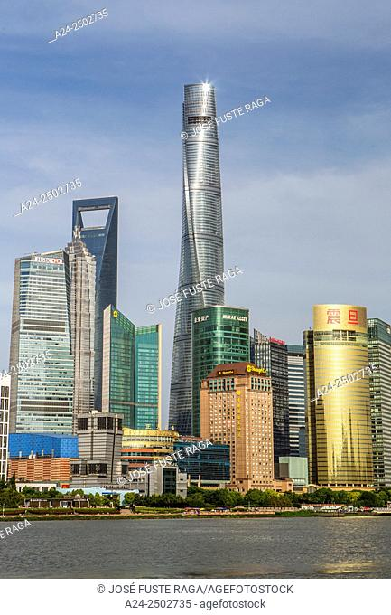 China, Shanghai City,Pudong District skyline,Jinmao,World Financial Center and Shanghai Tower
