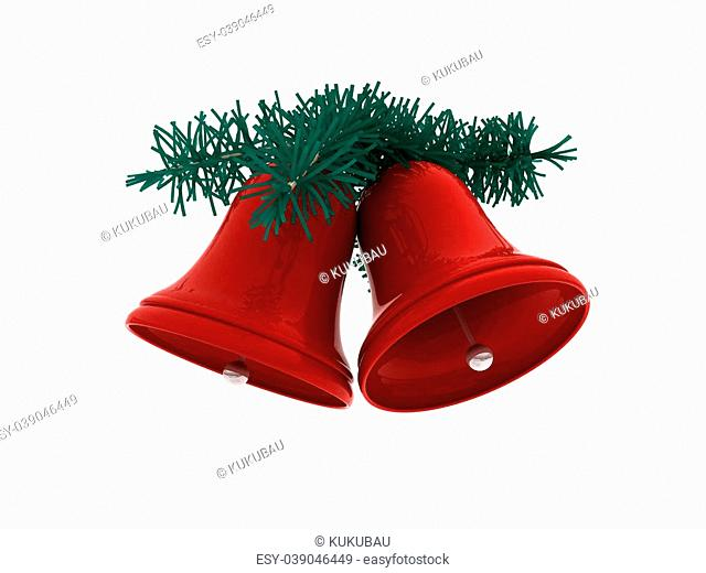 3D rendering of a couple of Christmas jingle bells