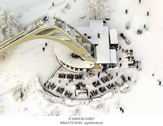 Aerial photo, Sankt Georg ski jump, apres-ski, restaurant, ski lift, queues at ski lift, winter in Winterberg, Winterberg, Sauerland
