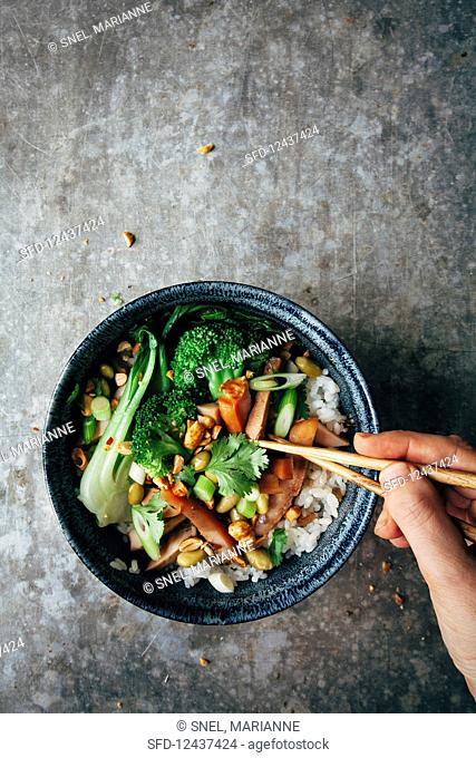 Sushi rice with edamame, spring onions, paksoi, smoked chicken, nuts, coriander leaves and broccoli (Asia)