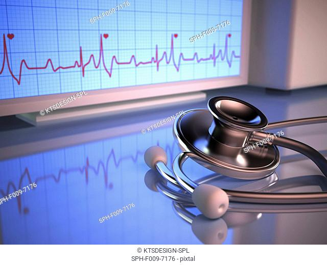 Stethoscope and cardiograph, computer artwork