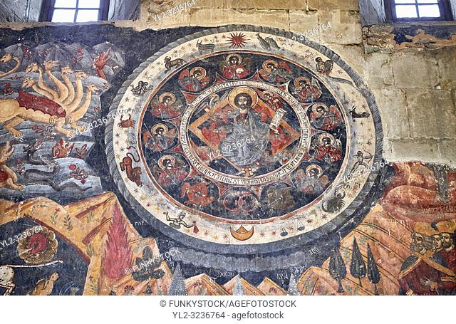 "Pictures & images of the interior fresco depicting 13th-century depiction of the ""Beast of the Apocalypse"" and figures of the Zodiac"