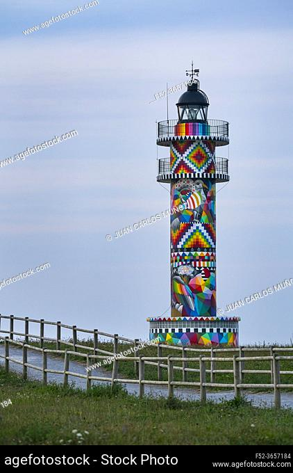Cabo de Ajo Lighthouse painted by the painter Okuda San Miguel, specialized in Urban Art. Ajo, Bareyo Municipality, Cantabria, Cantabrian Sea, Spain, Europe