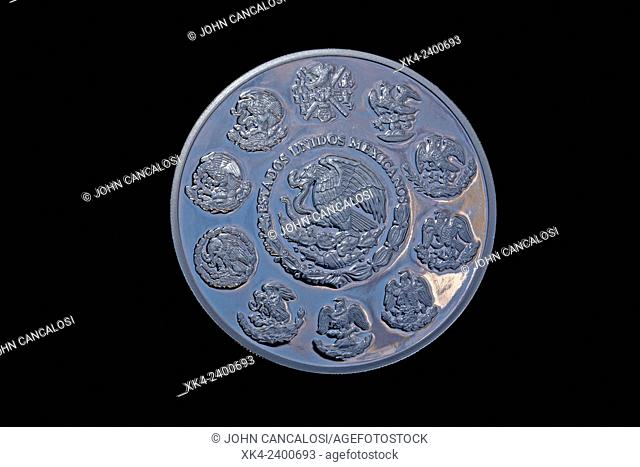Five ounce silver piece, Mexico, back