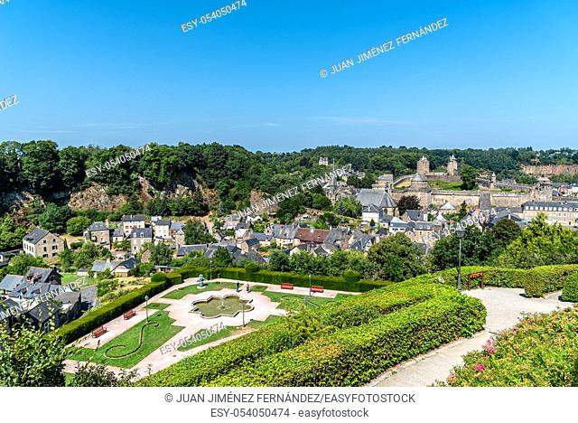The medieval castle in the town of Fougeres a sunny day of summer. Ille-et-Vilaine, Brittany