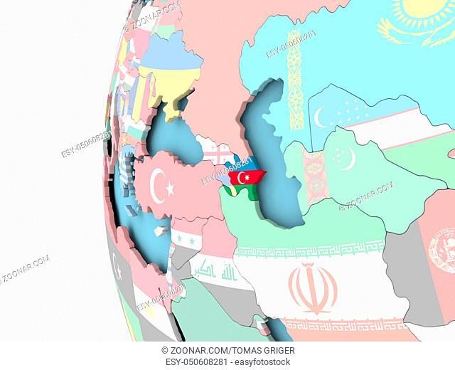 Azerbaijan on political globe with flag. 3D illustration