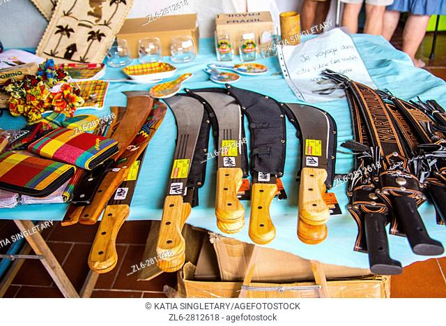 Machete, big knives for sell at the local market in the tropical island of Martinique