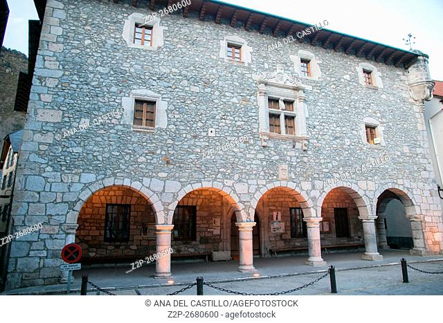 Medieval city hall Bielsa village in the Pyrenees mountains Huesca Aragon Spain