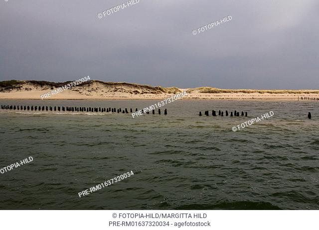 Former Ostanleger, Wangerooge, Friesland district, Lower Saxony, North Sea, Germany / Ehemaliger Ostanleger, Wangerooge, Landkreis Friesland, Niedersachsen