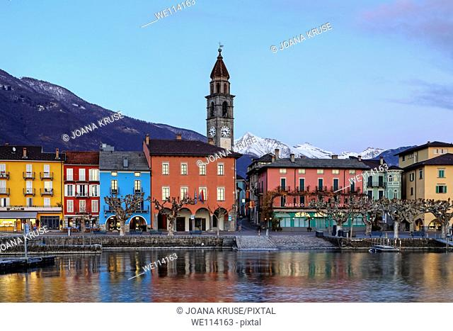 Lakefront in Ascona, Ticino, Switzerland in the evening during the sunset with reflections in the Lago Maggiore
