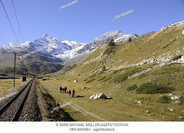 "The Bernina train drives over the Swiss Alps in the Oberengadin from Pontresina via Bernina-Hospitz to """"Alp Grüm"""" and ends in Tirano (Italy)"