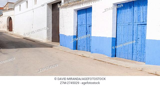 Typical street, El Toboso, Toledo province, Castile la Mancha, Spain. Route of Don Quijote