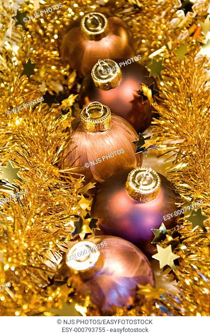 Christmas ornaments and tinsel