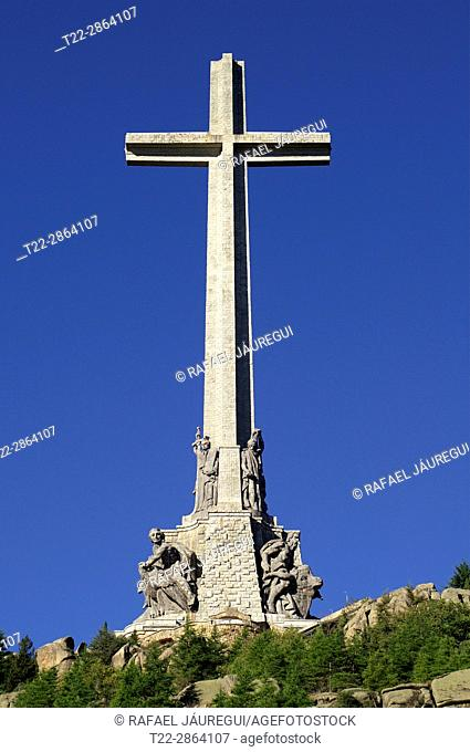 Valley of the Fallen (San Lorenzo de El Escorial) Madrid (Spain). Detail of the base of the cross of the Valley of the Fallen