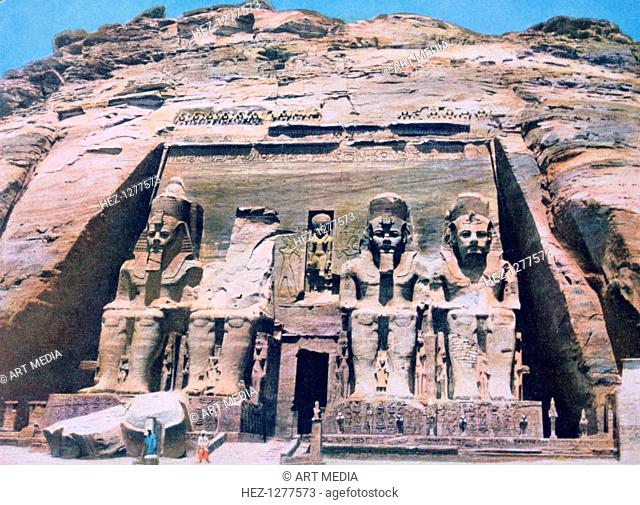 Temple of Abu Simbel, Egypt, 20th century. Colossal statues at the entrance to the Temple of Abu Simbel built during the reign of Rameses II (ruled 1279-1212...