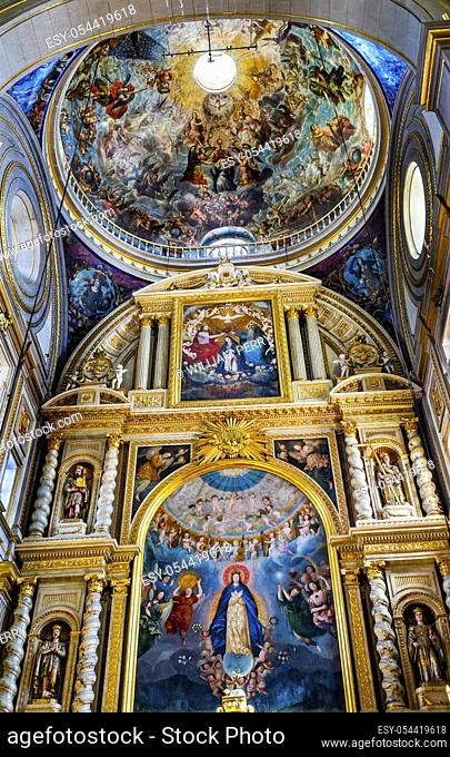 Basilica Colorful Mary Fresco Dome Altar Cathedral Puebla Mexico. Built in 15 to 1600s