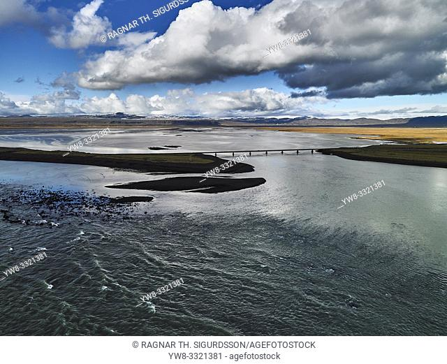 Coastline Sellfoss, South Coast Iceland. This image is shot from a helicopter