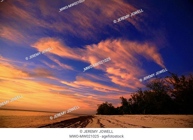 sunset and colourful clouds on Aldabra Island in Seychelles 12-12-2006