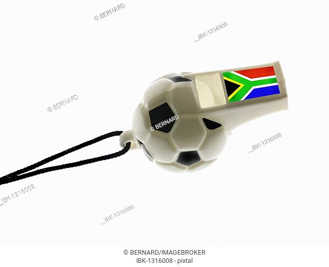 Football whistle, opening whistle for the 2010 Football World Cup in Cape Town, South Africa