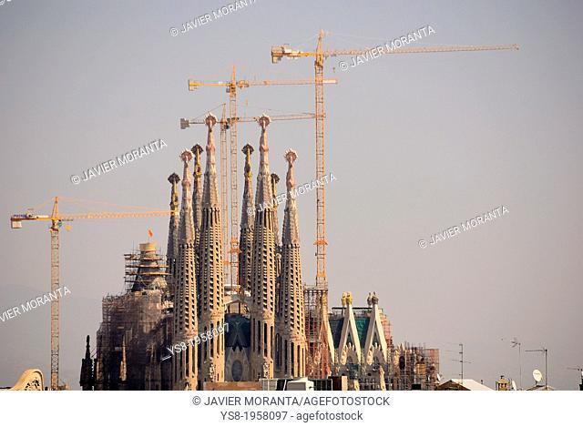 Construction of the Sagrada Familia in Barcelona, Spain