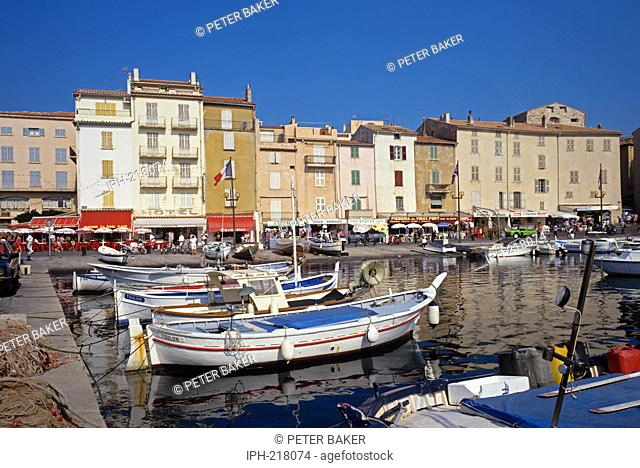 Harbourside scene in the famous resort of St Tropez on the French Riviera