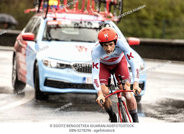 Willem Jakobus Smit at Zumarraga, at the first stage of Itzulia, Basque Country Tour. Cycling Time Trial race