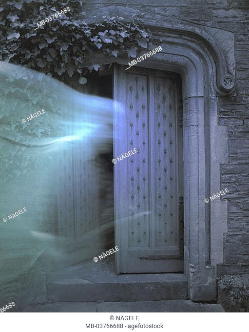 Great Britain, county Gloucestershire, Cinderford Little Dean reverberation, door,  Apparition, [M] Europe, United Kingdom, England, west, buildings, house