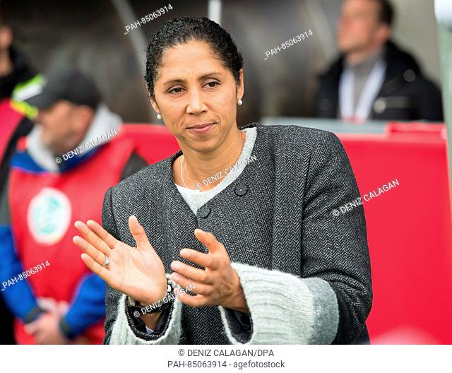 Germany national coach Steffi Jones claps ahead of the women's international soccer match between Germany and the Netherlands in theScholz Arena in Aalen