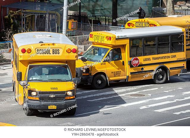 School buses line up in front of PS 33 in Chelsea in New York