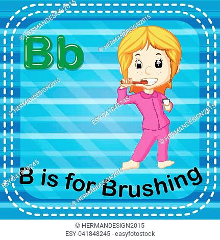illustration of Flashcard letter B is for brushing