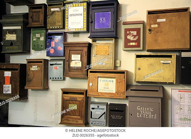 A wall of vintage letter boxes, Marseille, Provence, France