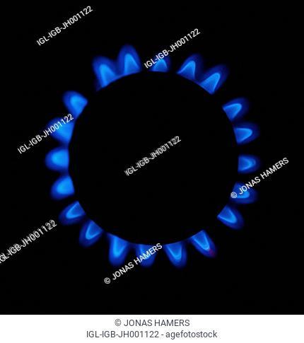 A blue gas flame