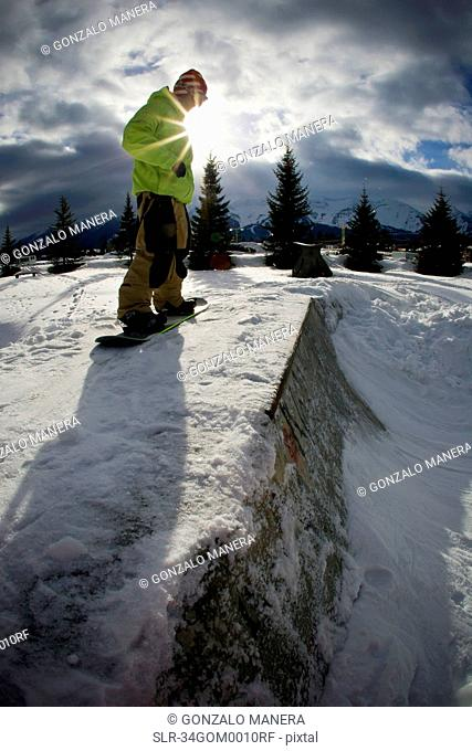 Snowboarder standing on half-pipe